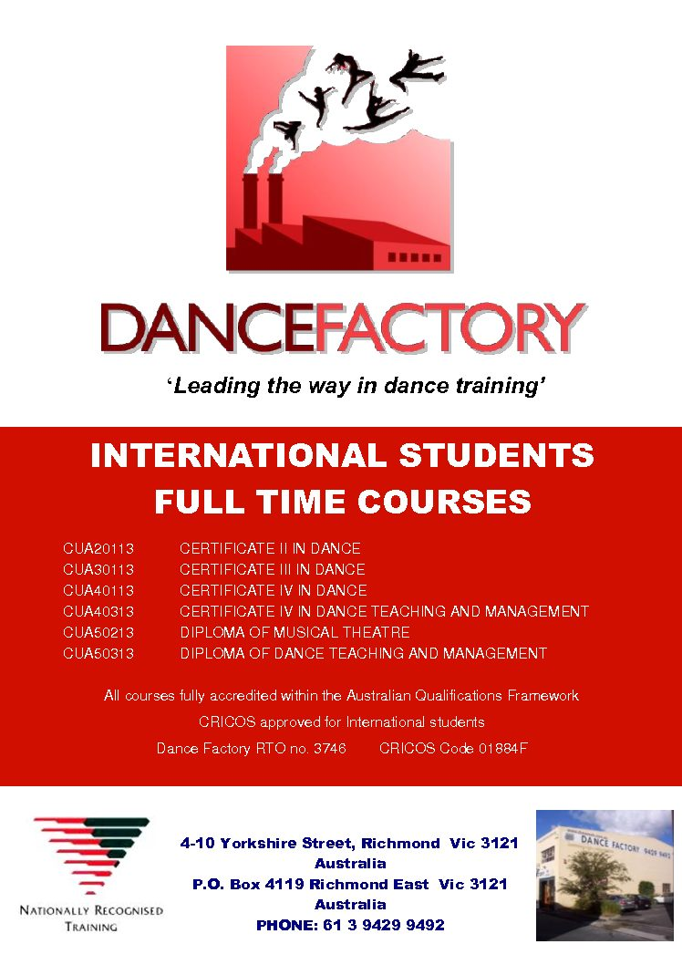 DOWNLOAD THE DANCE FACTORY INTERNATIONAL COURSE BROCHURE